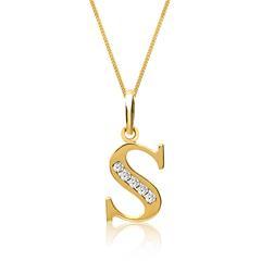333er Goldkette Buchstabe S mit Zirkonia