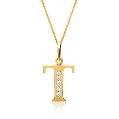 333er Goldkette Buchstabe T mit Zirkonia