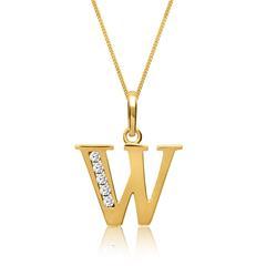 333er Goldkette Buchstabe W mit Zirkonia