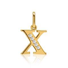 333er Gold Buchstabenanhänger X mit Zirkonia