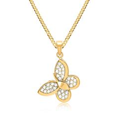 Kette aus Gold & 333er Anhänger Gold Schmetterling Zirkonia