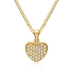 Goldkette & Anhänger 333er Gold Herzform Zirkonia