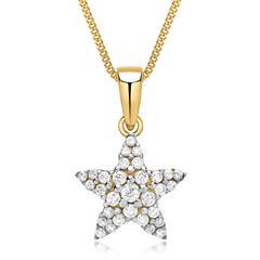 Goldkette mit 333 Goldanhänger Sternform Zirkonia