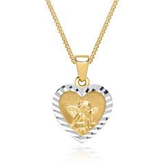 Kette mit Herzanhänger mit Engelsmotiv 333er Gold