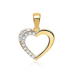 Zierlicher 333er Gold Herz Anhänger mit Zirkonia