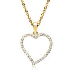 333er Goldkette mit großem Herzanhänger mit Zirkonia