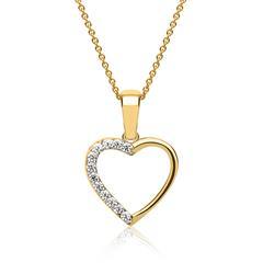 333er Gold Anhänger halbes Herz Zirkoniabesatz mit Goldkette