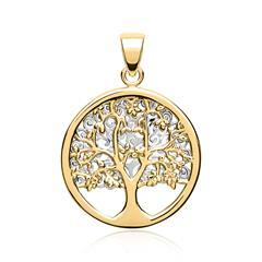 Eleganter Anhänger 333er Gold bicolor Baum