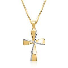 Kreuzkette bicolor 333er Gold