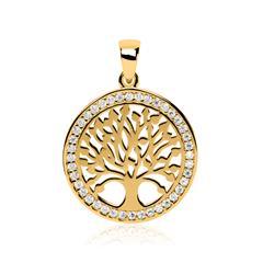 Lebensbaum-Anhänger aus 333er Gold mit Zirkonia