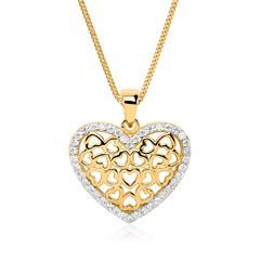 Kette mit Herzanhänger 8K Gold Zirkonia