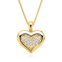 Kette und 333er Goldanhänger Herz mit weißen Zirkonia