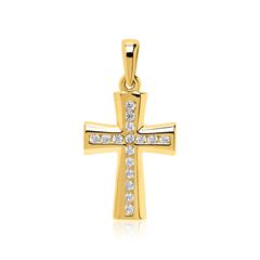 333er Goldanhänger Kreuz mit Zirkoniasteinen