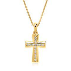 Kette mit 333er Goldanhänger Kreuz Zirkoniasteine