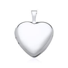Gravierbares Herz Medaillon aus 585er Weißgold