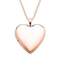 Gravierbare Herz Medaillon Kette aus 14K Roségold