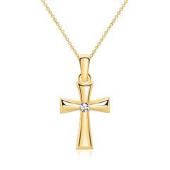 375er Goldkette Kreuz mit Zirkonia