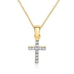 Kette Kreuz aus 375er Gold mit Zirkonia