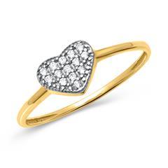 Zarter Goldring in Herzform mit weißen Steinen