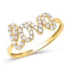 Ring 8ct Yellow Gold Love Zirconia