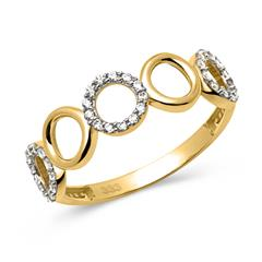 Bicolor 333er Gold Ring Zirkoniabesatz