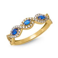 333er Goldring verschlungen blaue Steinen