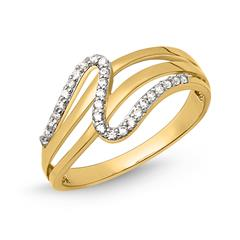 Schicker Ring Gold 333er Wellenform Zirkonia GR0125