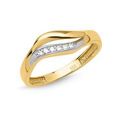 Schicker Ring 333er Gold bicolor geschwungen