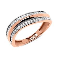 Ring wellenförmig 333er Roségold Zirkonia
