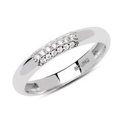 8 Karat Weißgold Ring mit Zirkoniabesatz