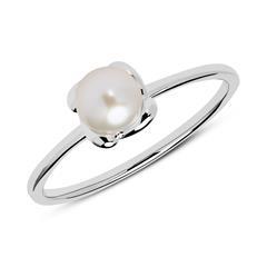 585er Weißgold Ring mit Süßwasserperle