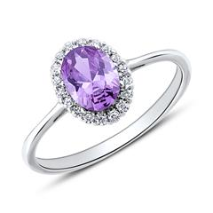 9K Weißgold Ring für Damen mit Zirkonia, gravierbar