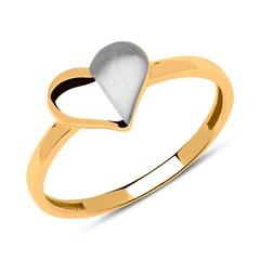 Ring mit bicolorem Herz 333er Gold