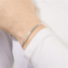 4,5mm 925 Silber Armband inkl. Gravur ID0045