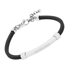 Armband Kautschuk mit Gravurplatte 925er Silber