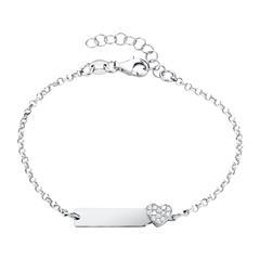 Gravur Armband Herz aus 925er Silber mit Zirkonia