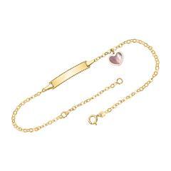 14K Gold Engravable Bracelet With Heart Pendant
