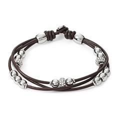 Armband Leder dunkelbraun Glassteine