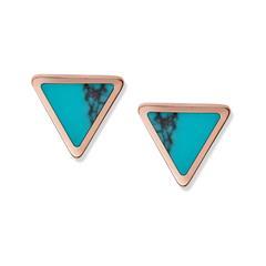Damen Ohrstecker Turquoise Triangle aus Edelstahl, rosé
