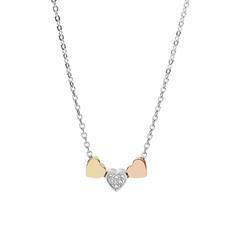 Herzkette Galentine für Damen aus Edelstahl, tricolor