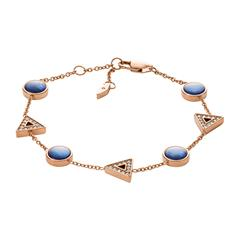 Armband für Damen aus Edelstahl rosé Perlmutt blau