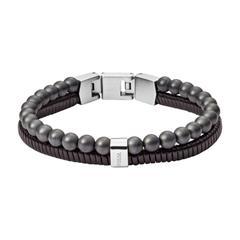 Armband für Herren aus Leder und Hämatit