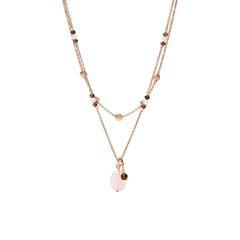 Halskette Duo Charm für Damen aus Edelstahl, rosé