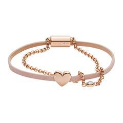 Armband Duo Heart für Damen aus Leder Edelstahl, rosé
