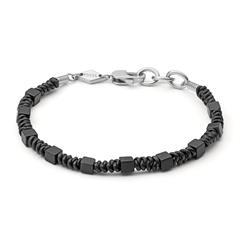 Armband für Herren aus Leder und Edelstahl, schwarz