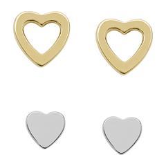 Damen Ohrstecker Duo Heart 925er Silber teilvergoldet