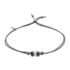 Armband aus grauem Textil mit Hämatit und 925er Silber