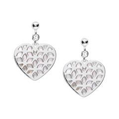 Herz Ohrringe für Damen aus 925er Silber mit Perlmutt