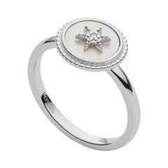 Damenring Stern aus 925er Silber mit Perlmutt