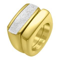 Modischer Doppel-Ring mit Zirkonia